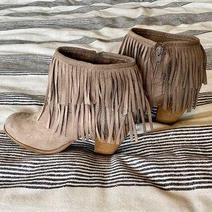 NWOB tan fringe booties